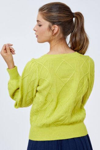 סוודר קצר שרוולים נפוחים