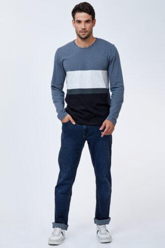 ג'ינס כחול כהה בסיסי גזרה רחבה