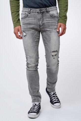 ג'ינס אפור משופשף עם קרעים